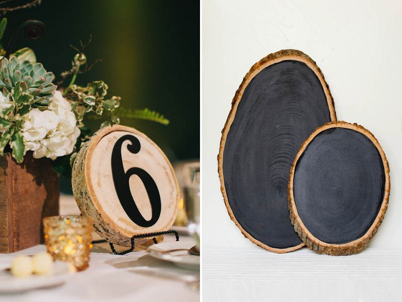 QuirkyParties Table Numbers Inspiration - Wood Slice