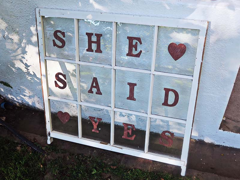 She said yes window - Quirky Parties