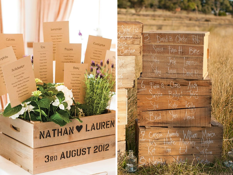 Quirky Parties - Rustic Crate Wedding Seating Plan