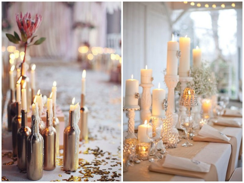 Candle in bottle as centrepiece - Quirky Parties