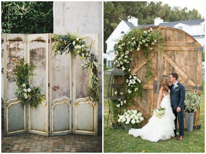 Vintage doors used as wedding backdrop - Quirky Parties