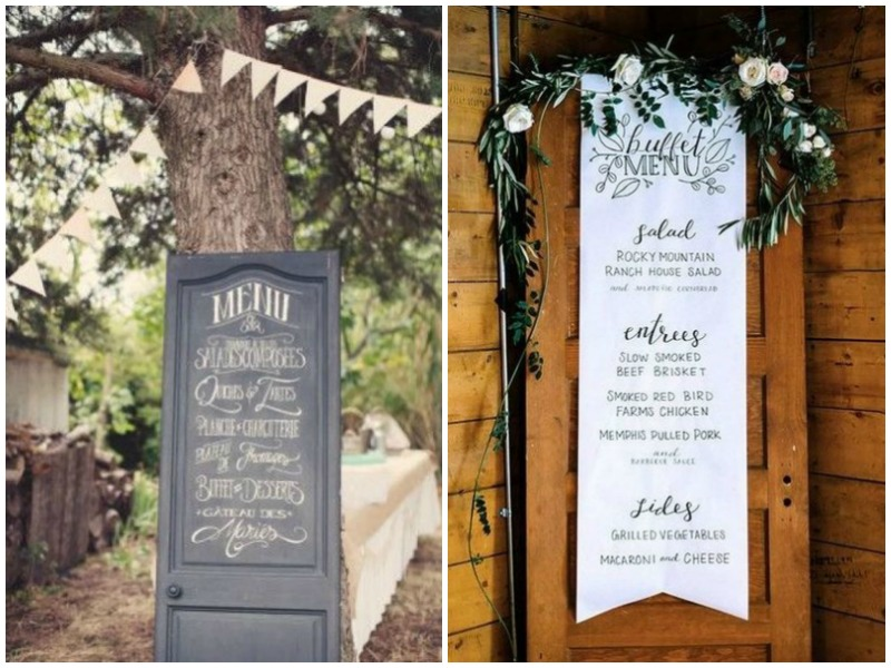 Wedding menu on vintage door - Quirky Parties