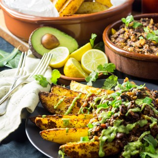 Cajun chili fries with avocado coriander sauce.