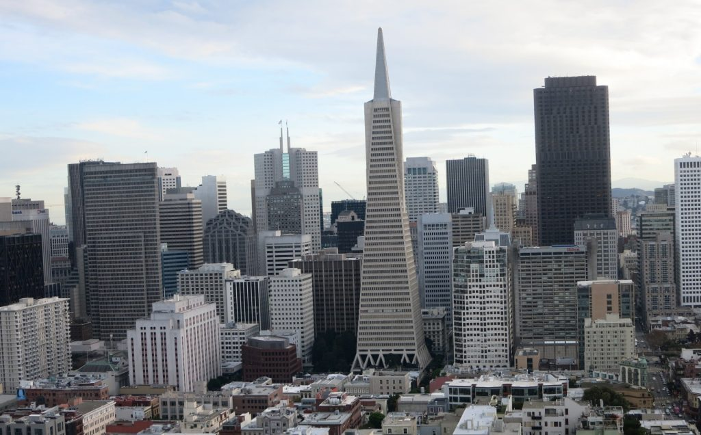 a view of downtown San Francisco seen from Coit Tower