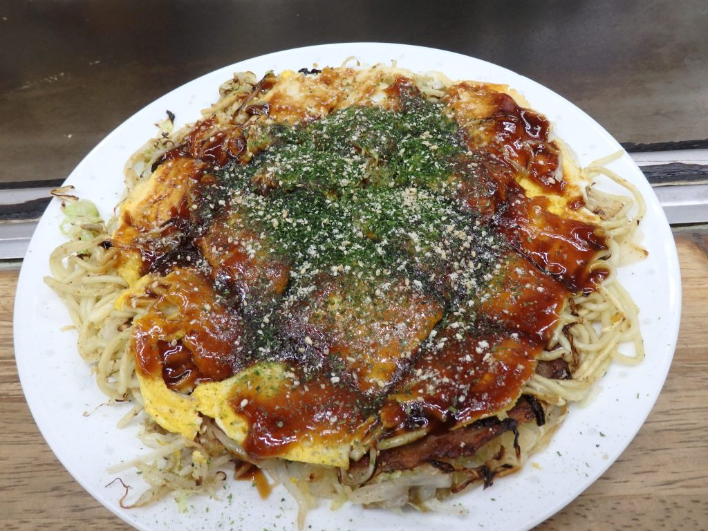 okonomiyaki, a local specialty in Hiroshima