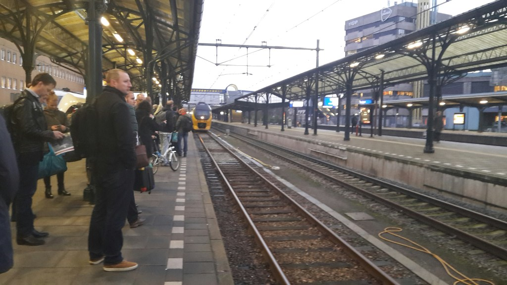 Waiting for the train at Groningen train station