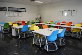 Classroom with multicolor chairs