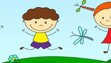 Boys and a girl playing in the meadow. Vector illustration