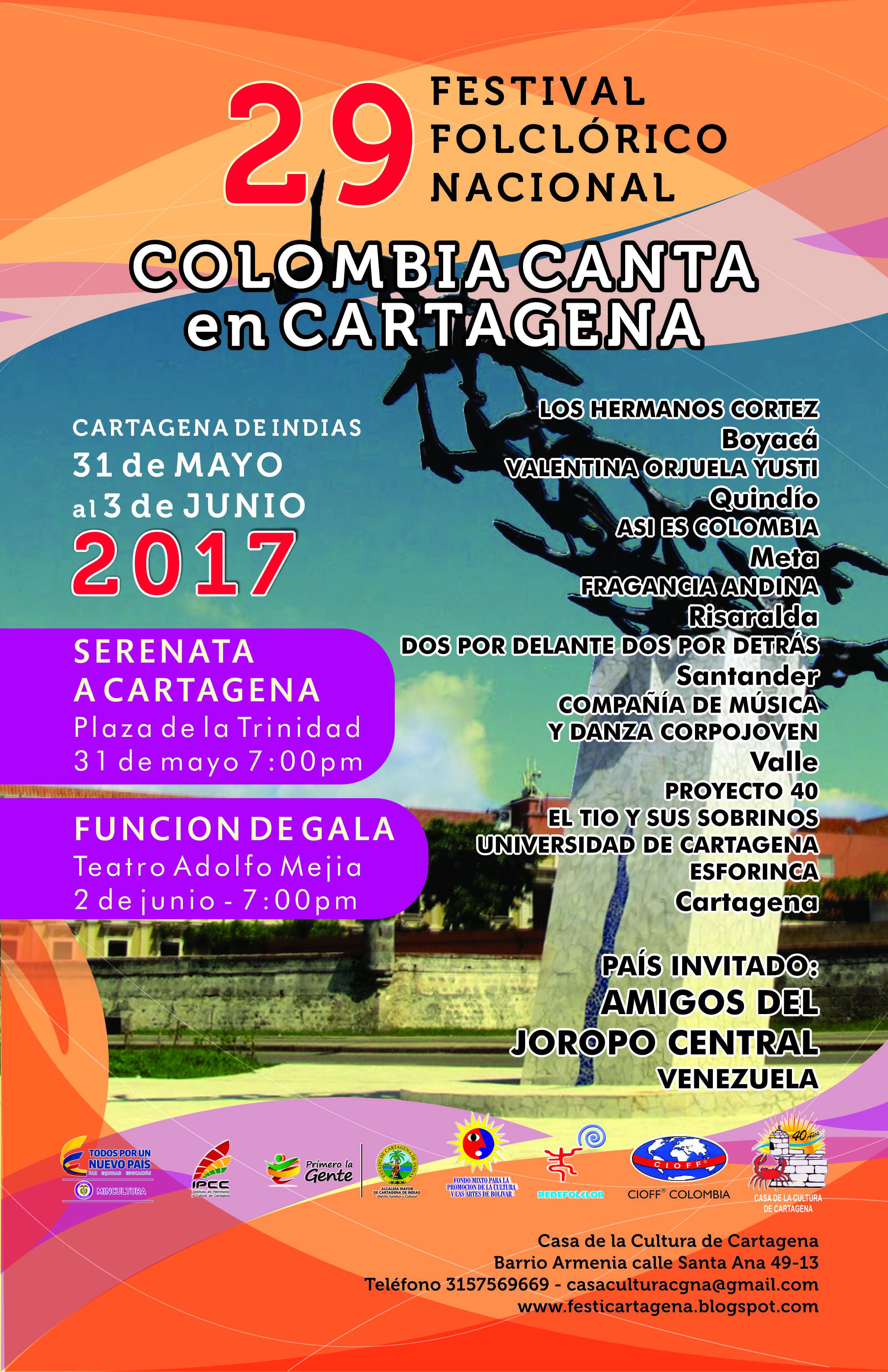 Afiche colombia canta en cartagena