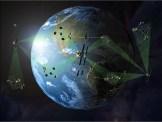 Terre entourée de satellites