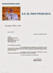 Bergoglio ringrazia il Rotary Club di Buenos Aires per averlo nominato socio onorario