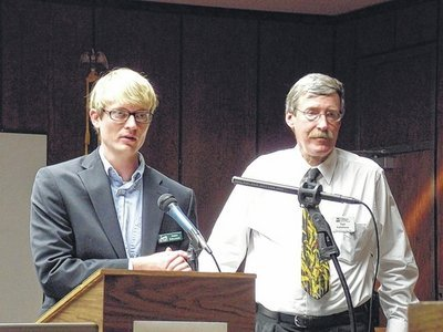 RAFI-USA's James Robinson addresses at a landowners forum in Danbury, NC.  Photo by Meghann Evans of The Stokes News.