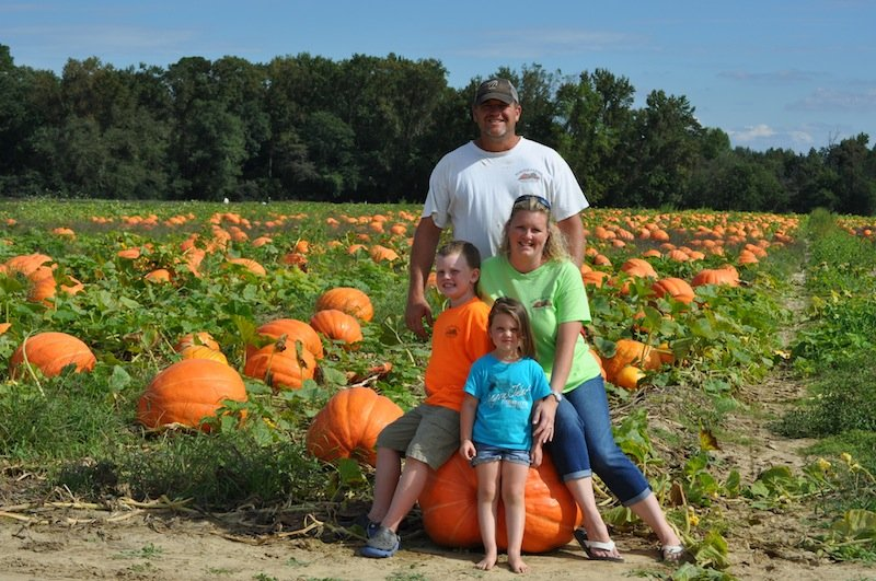 Steven Porter and family at Porter Farms Produce and Nursery in Kinston, North Carolina.