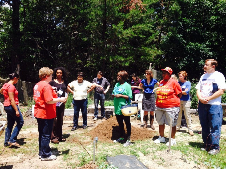 A visit to Guilford County Community Gardens at Come to the Table's Learning tour, 2014.