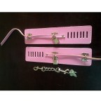 Pink Leather Handcuffs with Padlock & Key