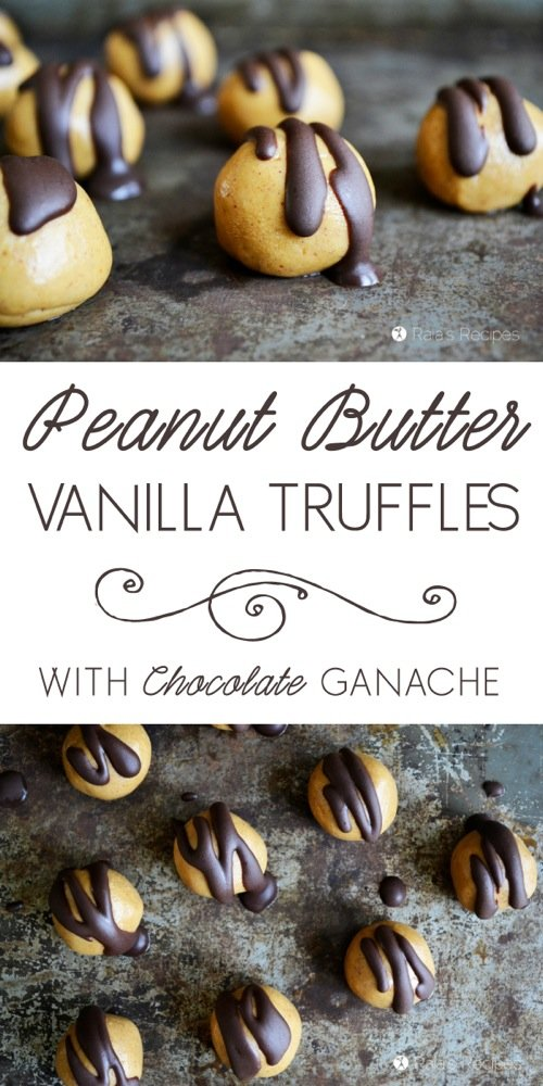Easy, decadent, and healthy! These grain-free, dairy-free, and refined sugar-free Peanut Butter Vanilla Protein Truffles with Chocolate Ganache are the perfect treat.