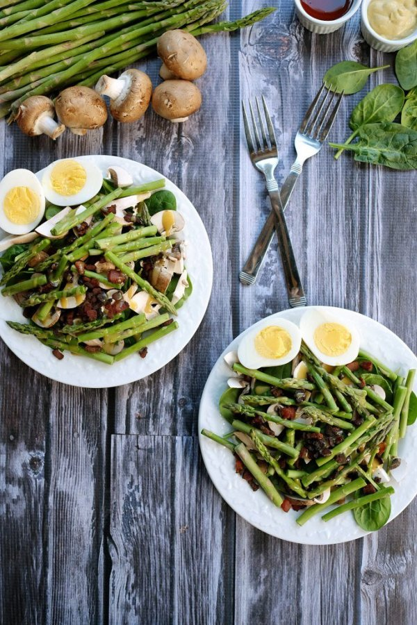Honey Mustard Asparagus Bacon Salad from Real Simple Good at Savoring Saturdays Gluten-Free Linky Party | RaiasRecipes.com