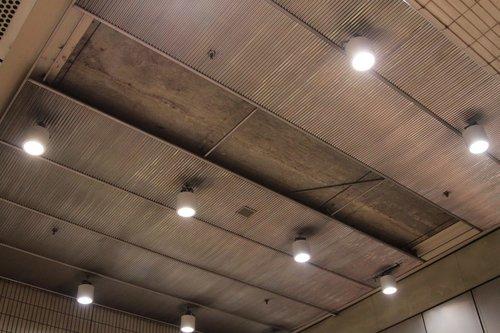 Missing ceiling cladding panels at Melbourne Central station