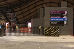Six FPDs set up beside the overflow gate at the Collins Street end of Southern Cross