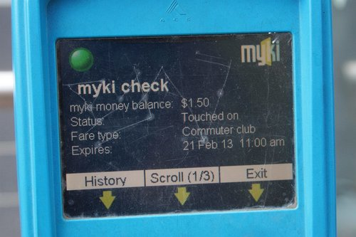 Myki SEM device: status screen 1 of 3 - overview