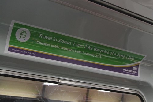 'Moving Victoria' advertisement promoting cuts to public transport fare prices, onboard a Comeng train