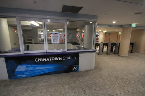 Monorail platform side of the unmanned Chinatown station