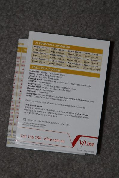 24 hour time conversion table on the rear of a V/Line pocket timetable