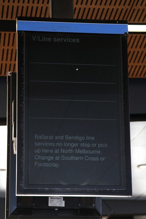 Empty V/Line services board at North Melbourne, now that Geelong, Ballarat and Bendigo services all bypass the station!
