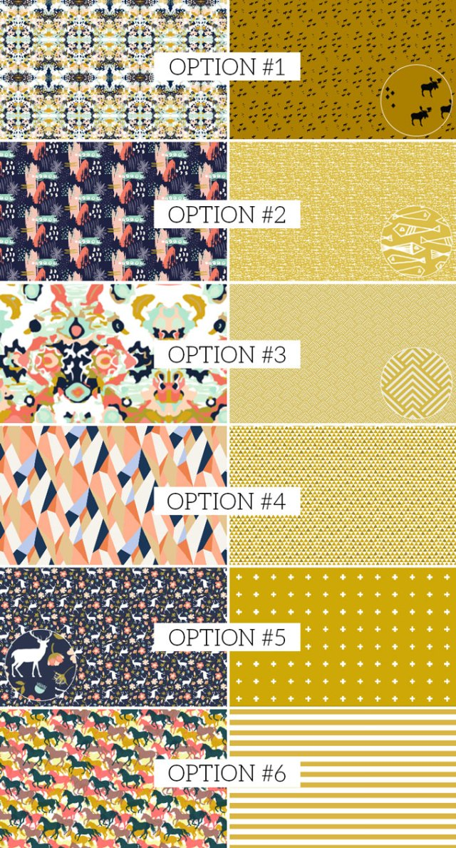 navy coral mustard gold color palette fabric combinations