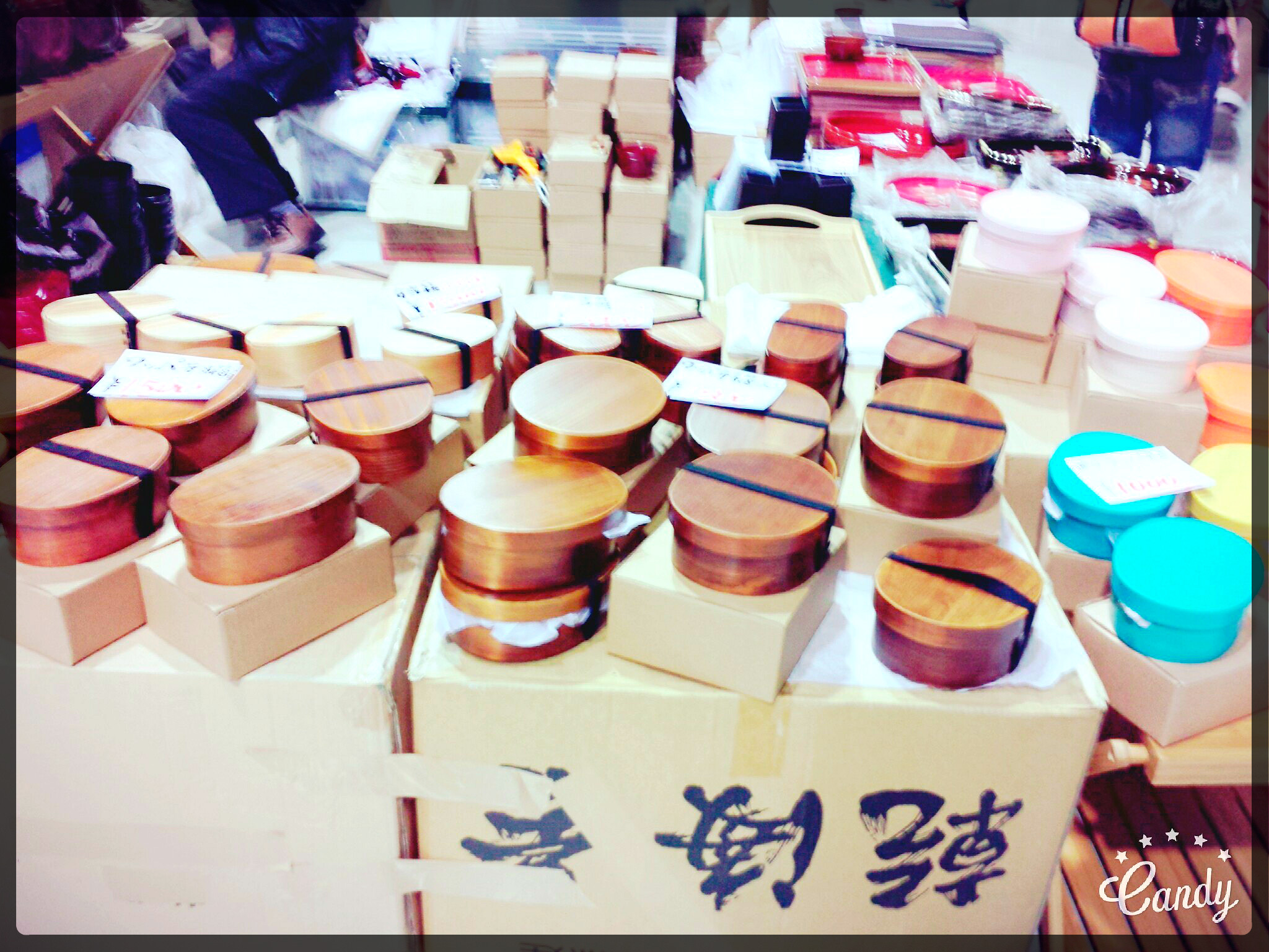 Visiting Flea Markets in Kansai. Wooden bento.