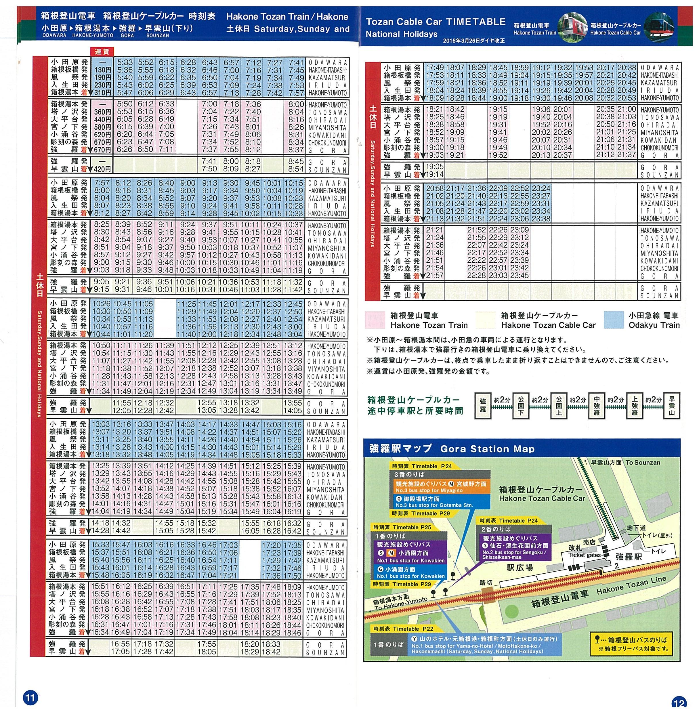 [Continuation] Day Trip from Tokyo : Hakone 箱根. Maps and timeteables. Pages 11 and 12. Hakone Tozan Train  and the Hakone Tozan Cable Car Timetables箱根登山電車 箱根登山ケーブルカー時刻表