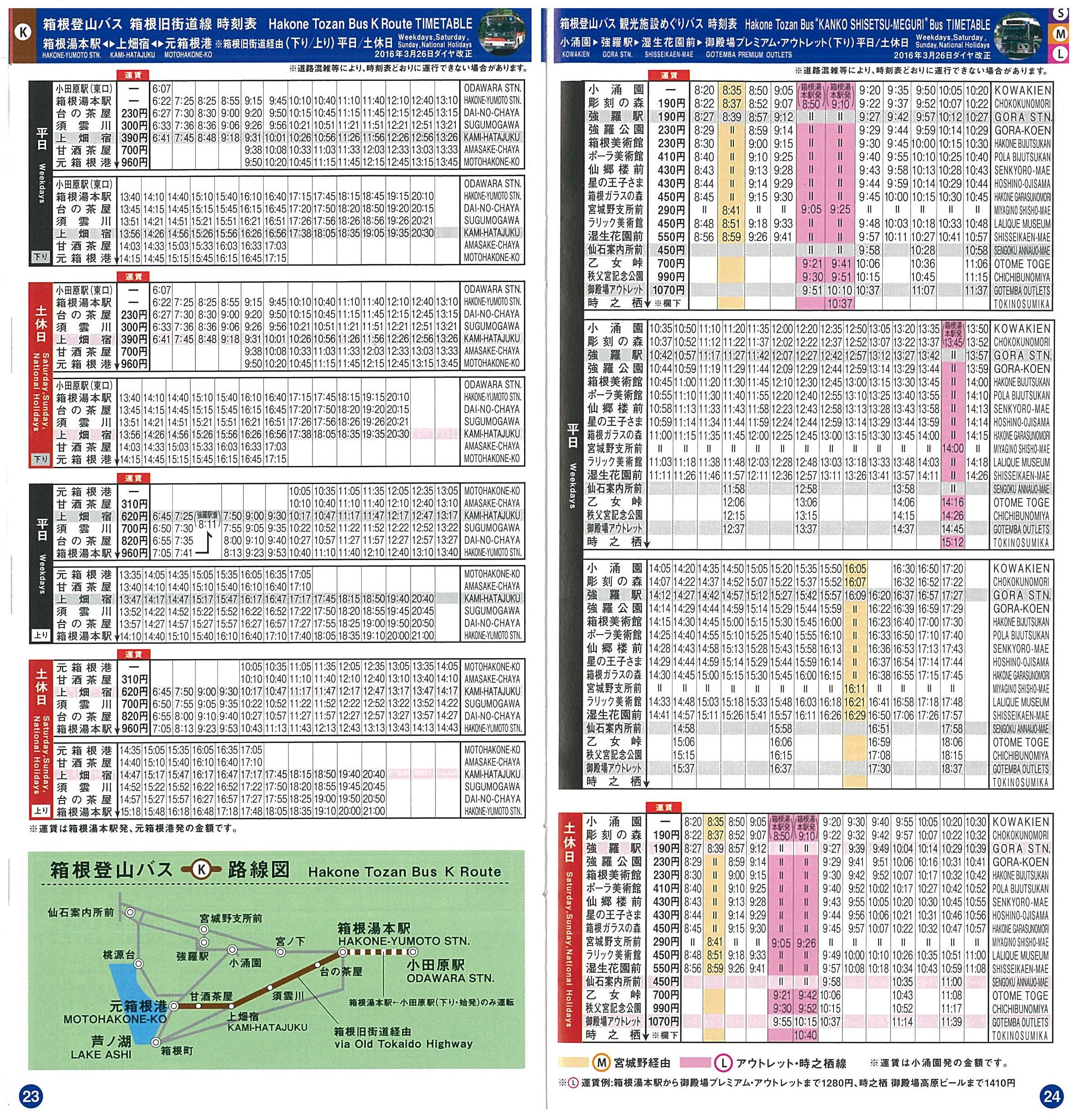 [Continuation] Day Trip from Tokyo : Hakone 箱根. Maps and timeteables. Pages 23 and 24. Hakone Tozan Bus K Route Timetables 箱根登山バス K 線 時刻表