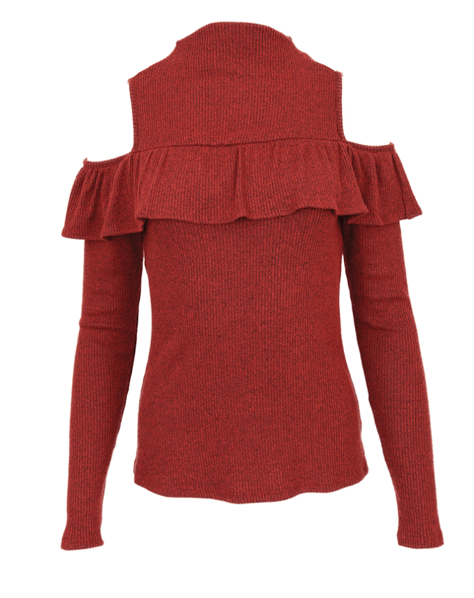 Red Haute cold shoulder mock turtleneck