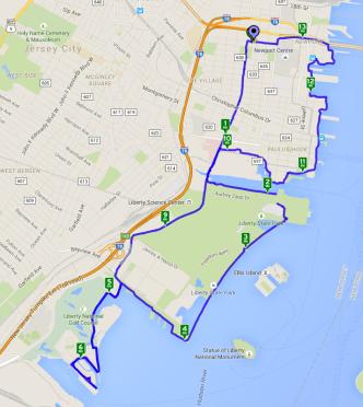 Map of Bike Ride along Jersey City Waterfront