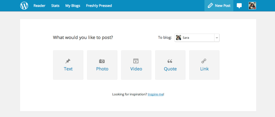"""WordPress.com New Dash - Screen right after you hit """"New Post"""""""