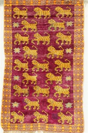 SILK CARPET FROM  AGRA  JAIL - TIGER RUG 6.4X4  CC7986 (19)