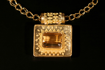 22k granulated pendant with citrine