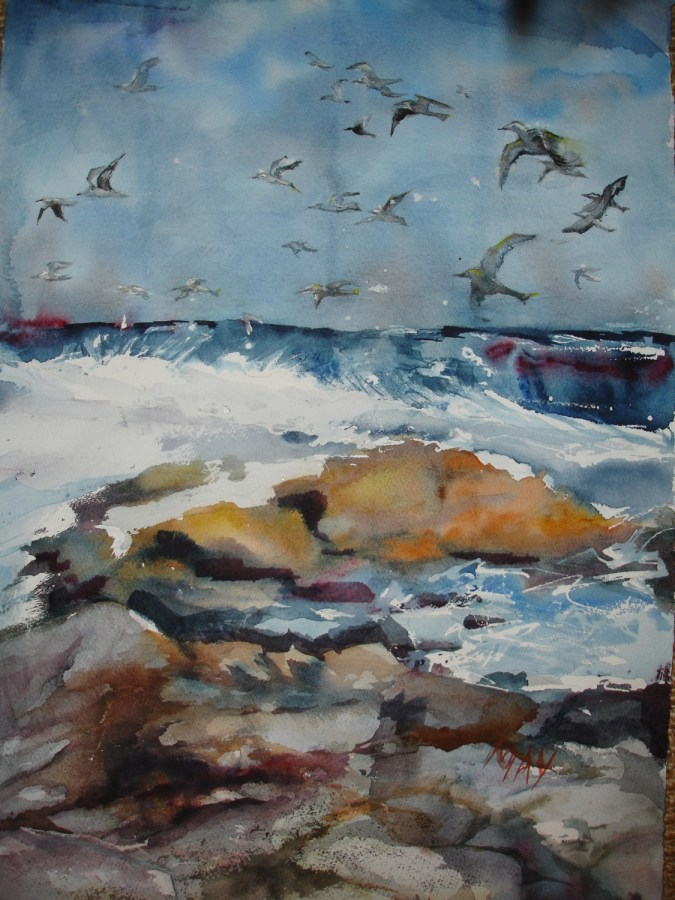 Rande-May-Watercolor-The-Birds-and-the-Sea