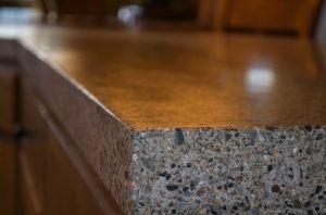 Polished concrete countertop.