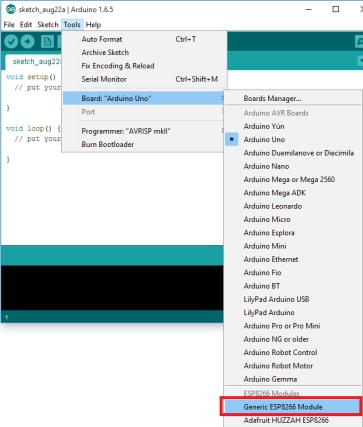 Arduino IDE select esp8266