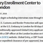 Global Entry London Popup