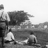 Japanese troops using Indian PoWs for target practise, 1942