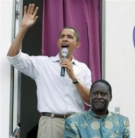 Rothschild Czar Barry Soetoro ~ While Employed As A Senator In New Jersey - Obama Went To Kenya To Campaigned For His Islamic Fascist Cousin Odinga In Order To Over Throw The Christian Kenyan Government. Odinga Lost and Retaliated By Committing Genocide With His Thugs. Obama spent U.S> taxpayer money to commit treason against The United States Of America.