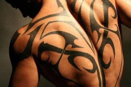 y guy full back tribal tattoo design black ink swirls curls athlete warrior fighter y art