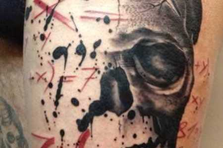 pietro romano combines a human skull and mathematical formula in this abstract tattoo design