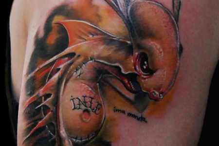 hung new school tattoo artist gbor jelencsik creates a tattoo design with a horror and humor appeal