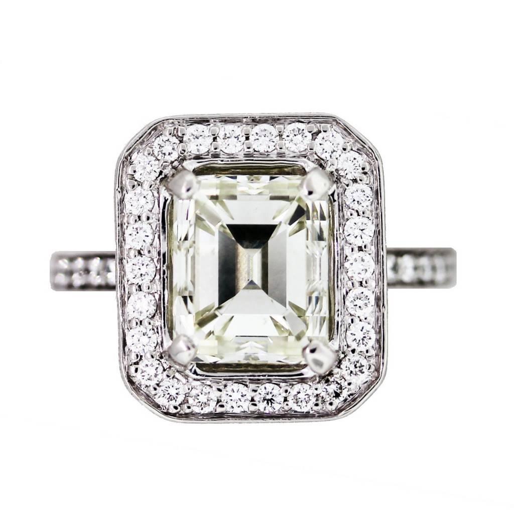 4 carat emerald cut diamond platinum engagement ring in halo setting emerald cut wedding rings
