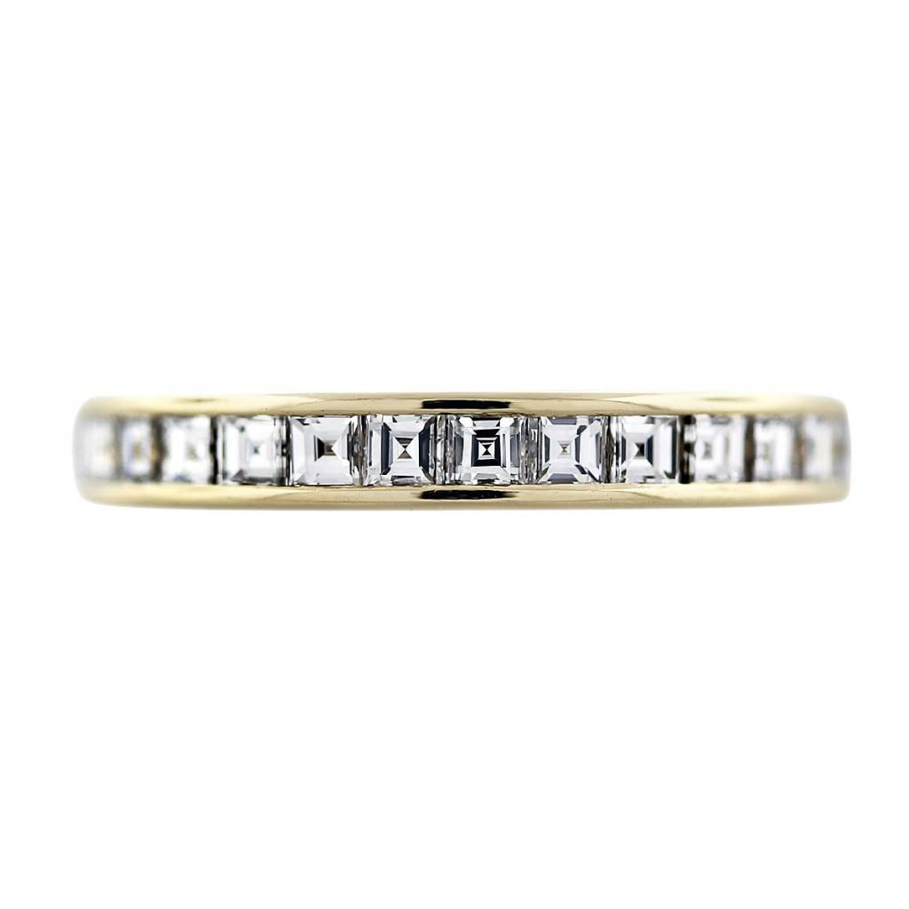 cartier 18k yellow gold asscher cut diamond wedding band cartier wedding bands ZOOM