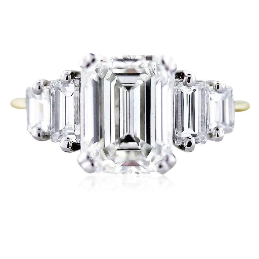 3 carat emerald cut diamond engagement ring gia certified emerald cut wedding rings