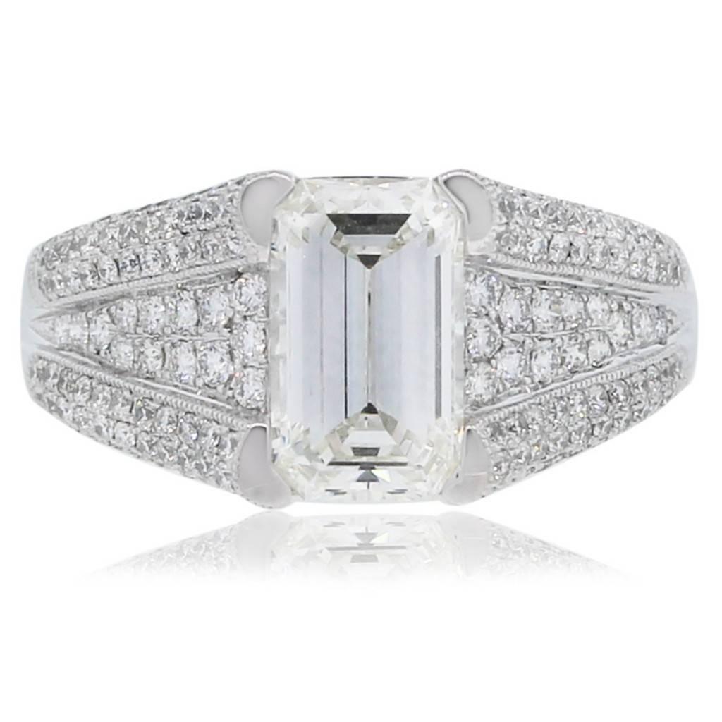 platinum emerald cut diamond engagement ring with accents emerald cut wedding rings Platinum Emerald Cut Diamond Engagement Ring with Accents